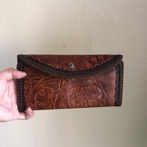 Vintage leather tooled clutch/wallet
